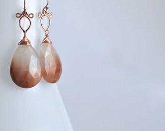 Sunstra - Rutilated Quartz, 14K Rose Gold Filled Earrings