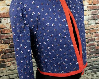 Floral Vintage Jacket with contrasting Piping / AS IS / Swing Jacket / Floral Jacket