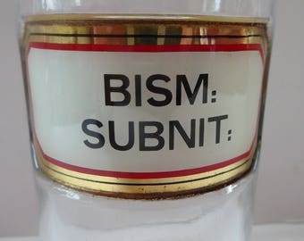 Antique Clear Glass Chemist Bottle BISM: SUBNIT with Original Foil Label and Ball Stopper. 8 inches