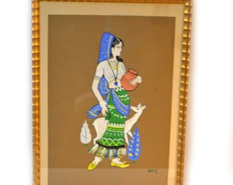 Ethnic Woman Art Gouache Painting