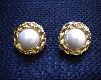 Vintage 80s Anne Klein Faux Pearl and Braided Goldtone Pierced Earrings Signed AK