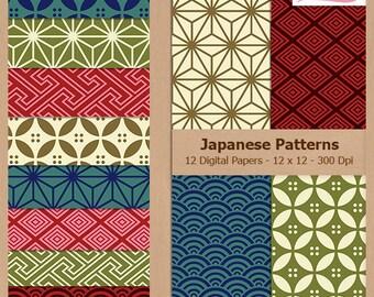 Digital Scrapbook Paper Pack - JAPANESE PATTERNS - Instant Download