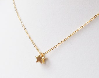Star 16K Gold Plated Stacking Necklace - BridesMaid Gift - Gold Star Necklace
