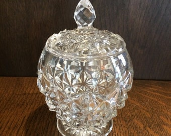 Vintage Round Pressed Glass Candy Dish with Lid