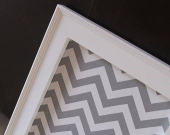 """Framed Magnet Board Large Magnetic Bulletin Board 41""""x29"""" Memo Board Wedding Kitchen Bulletin board Farmhouse Chevron Fabric Message Board"""