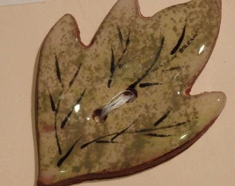 Handmade ceramic buttons - large green ivy leaf handpainted pottery button C79