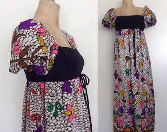 1970's Empire Waist Black Bust & Floral Print Maxi Dress Size Small Medium by Maeberry Vintage