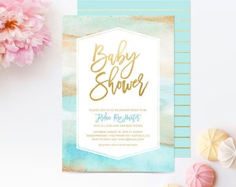 Baby Shower Invitations Watercolor Marble