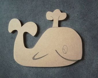 H14, 5 x 19cm support blank mdf wooden whale