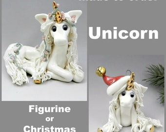 Unicorn Porcelain Christmas Ornament or Figurine OOAK Made to Order
