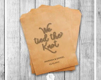Wedding Favor Bags, We Tied The Knot, Wedding Favors Personalized Cookie Bags Candy Bar Bags Set of 20 Style 027