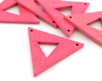 1 connector pink triangle wooden 3.8 cm x 3.3 cm