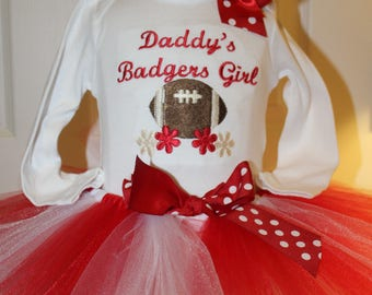 Wisconsin, Wisconsin Badgers, Badgers, baby girl clothes, baby shower gift, new baby gift, baby girl gift, bodysuit, baby tutu, football