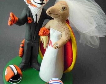 Clemson Tiger Groom Marries Maryland Terrapin Bride, Tiger Groom Wedding Cake Topper - Custom Made
