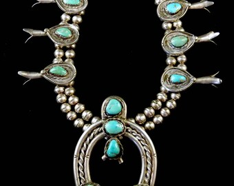 161g Old Pawn Vintage Navajo Sterling Silver Squash Blossom Necklace w Fabulous Fox Mine Turquoise! Totally Awesome Old Classic!