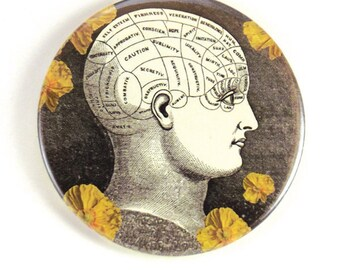 3 inch magnet:  Vintage Phrenology Head