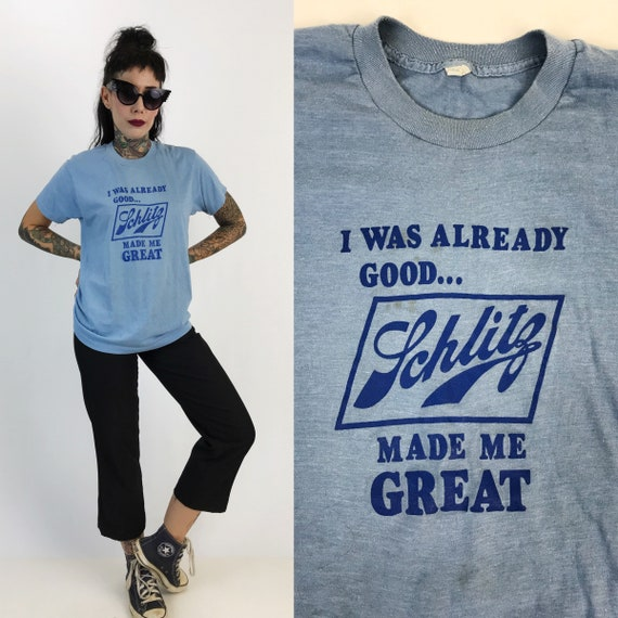 80's Schlitz Beer 50/50 Retro Thin T-shirt Adult Small - Vintage Beer Logo Humor Tee Shirt - Baby Blue Thin Schlitz Beer Typography T-Shirt