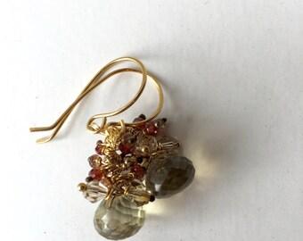 Lemon Quartz Garnet, Pink Andalusite, Peach and Gold Glitter Earrings,  Bridal, Etsy jewelry, Lilyb444, Gold earrings,