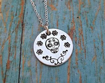 Sugar Skull Necklace - Sugar Skull Jewelry - Sugar Skull - Dia de los Muertos - Gift for Her - Hand Stamped Necklace - Skull - Flowers