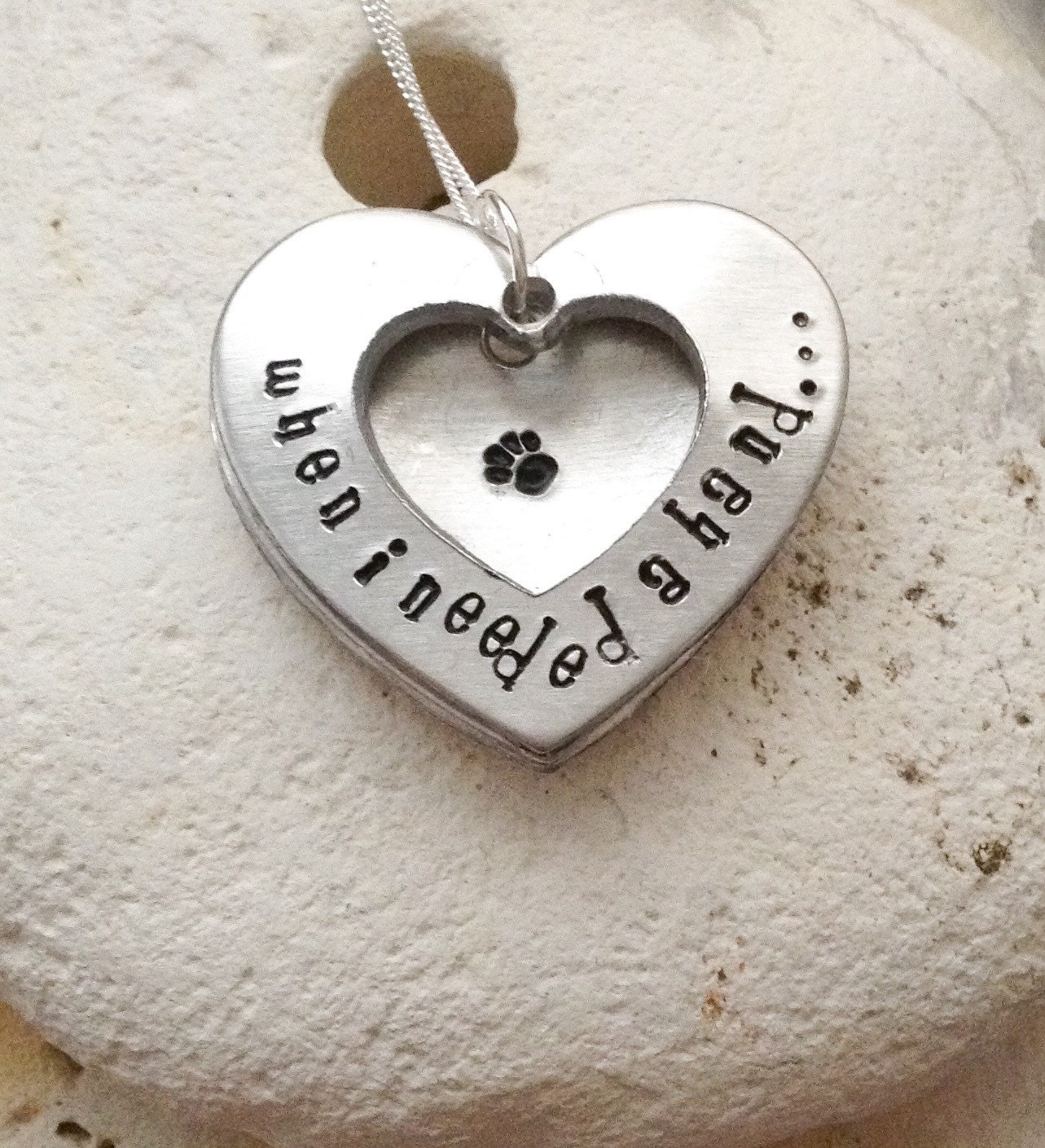 Dog necklace - cat necklace - handstamped animal lovers gift -When I needed a hand, I found your paw, heart shaped open locket on 18