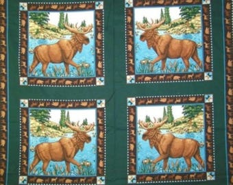 Moose Fabric: Moose Lake Pillow Panel 100% cotton Fabric by the panel (SC953)
