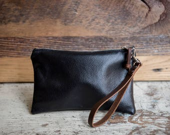 Leather Clutch Bag, Zipper Pouch, Leather Bag, Leather Wristlet, Wristlet, Leather Cord Bag, Black Leather Wristlet