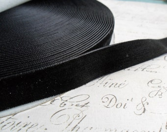 7/8 inch Raven Black Velvet Ribbon