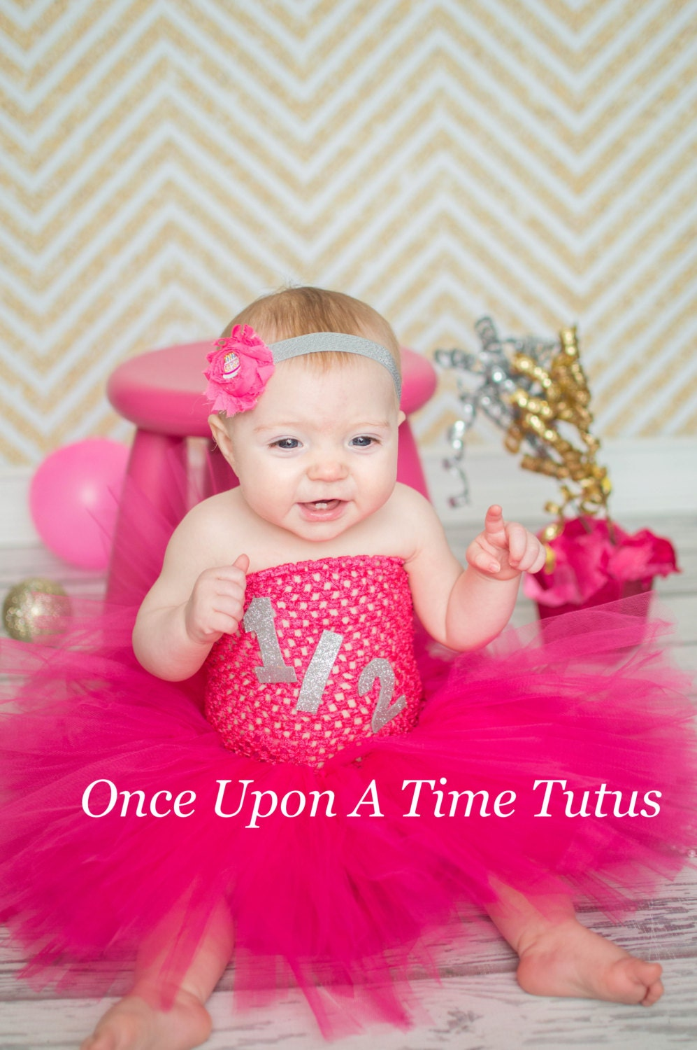 Half Birthday Hot Pink And Silver Tutu Dress Little Girls Or