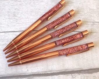Rose Gold Floating Glitter Filled Sparkle Foil Pen