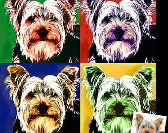 Personalized Photo Andy Warhol Inspired Pop Art Cartoon Effect 1950's Abstract Expressionism Art Portrait on Acrylic Glass