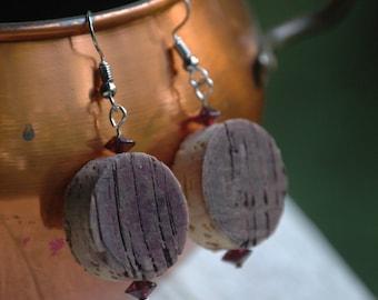 Wine Cork Earrings- Gift- Upcycled