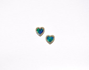 14k Pave Diamond Blue Iridescent Opal Heart Earrings/Studs