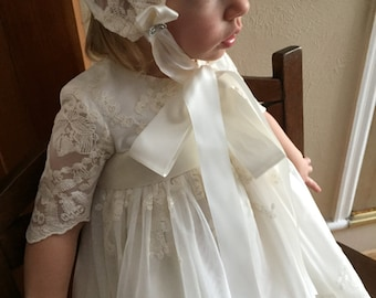 Caroline, Ivory Lace Christening Gown/ Dress and Hat.