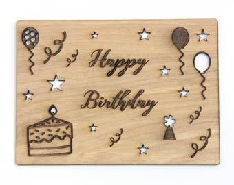 Wood Card Happy Birthday