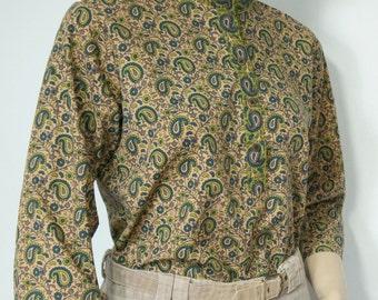 Paisley Blouse Vintage Cotton India Style Olive Hippie Top Size Medium