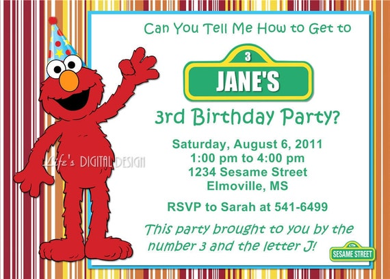 Elmo Birthday Invitation Sesame Street Stripes With Photo And
