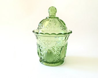 Imperial Glass Jar, Pre-Lenox era 1950's Green Sugar Candy Dish with Original Stickers and Marked IG