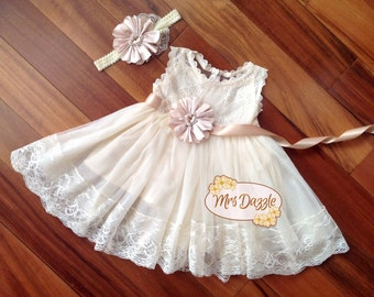 Baptism Dress,Christening Dress,Baptism Lace Dress,Baptism Gown,Christening Gown,Communion Dress,Blessing Dress,Girls Lace Dress,Champagne