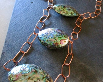 Gorgeous Huge Abalone & Copper ABACUS Necklace - Statement - Etsy Jewelry - catROCKS - Grace Frankie  OOAK - Chain - Peacock - Ladder Spring