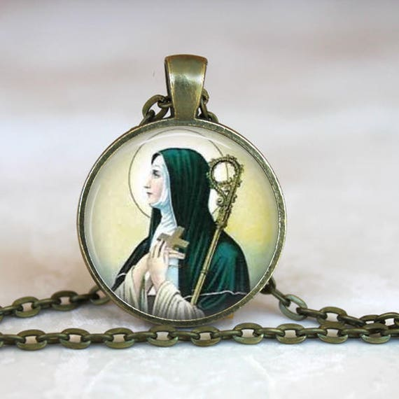 Saint Brigid of Ireland Pendant - Catholic Jewelry, Catholic Saint Necklace -Patron Saint Necklace, Patron Saint of Blacksmiths, Students