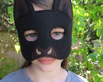 Black Bat Mask - Halloween Mask - Bat Costume Accessory - Animal Mask - Child