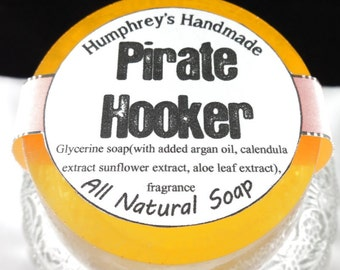 PIRATE HOOKER Soap, Orange Tropical Shave & Shampoo Soap, Round Soap Puck, Mango Papaya Scent, All In One Funny Crude Soap