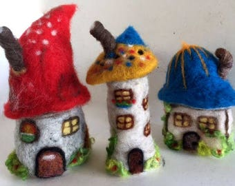 Needle felted fairy garden houses Set of 3 Gnome Toadstool cottages decorations OOAK