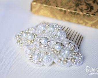 Pearl Hair Comb White Hair Accessories Wedding Hair Accessories White Hair Clip White Wedding Hair Accessories Bridal Hair Comb