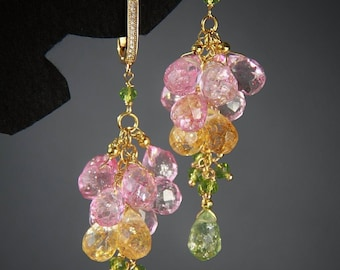 Gold Pink Earrings Gemstone Jewelry Green Earrings Purple Earrings Long Earrings Summer Earrings Cluster Earrings Dainty Birthday gift Gold