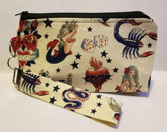 Vintage tattoo 8x5 Cosmetic bag, wristlet, fabric, fashion, fabulous pouch, clutch, make up, zipper