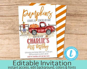Pumpkin Birthday Invitation, Pumpkin, Red Truck, Pumpkin Patch, Fall Invitation, Editable Birthday Invitation Template, Instant Download