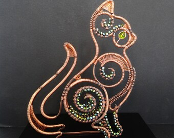Wire Sculpture Flat Cat Copper Woven Wrapped Crystals