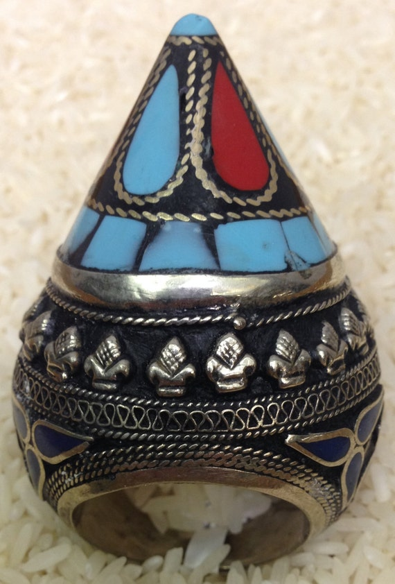 Ring Middle Eastern Silver Coral Turquoise Inlay Kuchi Ring Handmade Handcrafted Turquoise Blue Red Coral Tribal Statement Unique