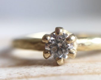 18k green gold ring with diamond - handmade engagement ring
